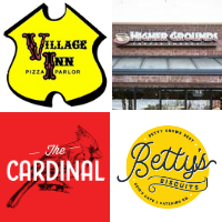 Food Truck logos, clockwise from top left: Village Inn Pizza, Higher Grounds coffee, Betty's Biscuits, The Cardinal