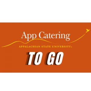 """App Catering in serif font over Appalachian swoosh and bird with """"To Go"""" in san serif font below, background is orange"""