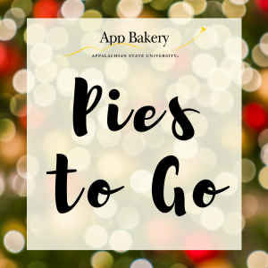 """App Bakery logo above the text """"Pies to Go"""" with a festive lights background"""
