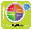 ChooseMyPlate icon showing plate divided into portion sizes based on food group