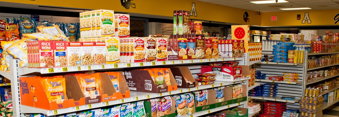 aisles of groceries